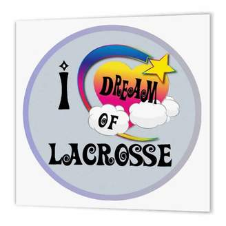 LaCrosse 3drose 3dRose Cute Girly Heart Star Clouds I Dream Of Lacrosse, Iron On Heat Transfer, 10 by 10-inch, For White Material