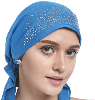 Yjzq Woman's Chemo Hat Crystal Pleated Stretchy Turban Cap Beanie Bandana Skull Cap Ethnic Head Wrap Hat Headscarf for Cancer Patients