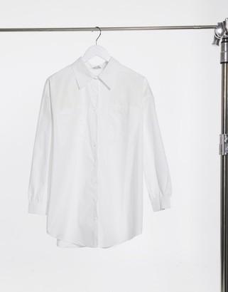 In The Style x Megan Mckenna longline shirt in white