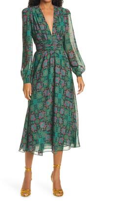 Ronny Kobo Tula Print Plunge Neck Long Sleeve Midi Dress
