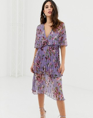Asos Design DESIGN soft pleated tiered midi dress in lilac floral