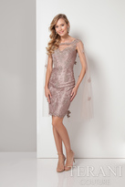 Terani Evening - Gorgeous Illusion Caped Lacy Dress 1713C3110