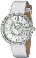 Stuhrling Original Chic Women's Quartz Watch with Silver Dial Analogue Display and Silver Leather Strap 566.01