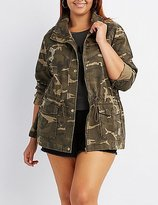 Charlotte Russe Plus Size Destroyed Camo Anorak Jacket
