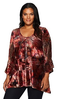 One World ONEWORLD Women's 3/4 Flared Sleeve Velvet Top with Lace Back