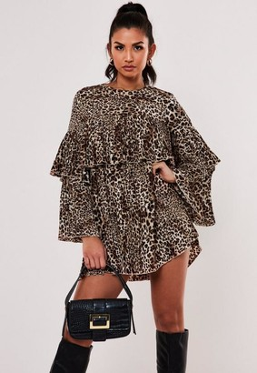 Missguided Tall Brown Pleat Tiered Smock Dress
