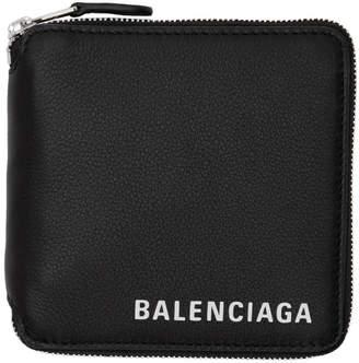 Balenciaga Black Square Logo Zip Wallet