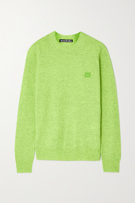 Acne Studios Appliqued Neon Wool Sweater - Lime green