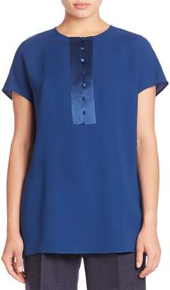 Lafayette 148 New York Silk Double Georgette Azalea Blouse