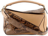 Loewe Puzzle Colorblock Python and Leather Bag