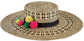 San Diego Hat Company Women's Mixed Woven Paper Hat with Pom Tassel Trim PBL3082