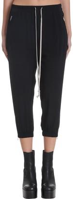 Rick Owens Cropped Track Pants In Black Polyamide