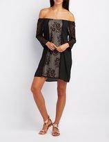 Charlotte Russe Lace-Trim Off-The-Shoulder Shift Dress