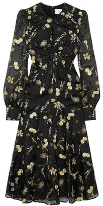 Erdem Carwen Embroidered Silk-organza Midi Dress