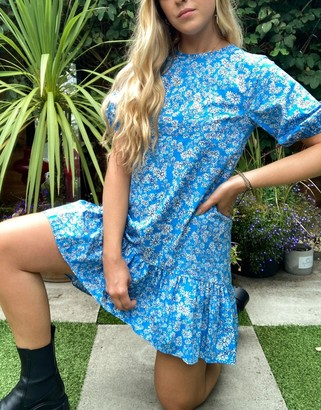 Topshop cotton mini dress in light blue