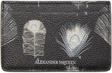 Alexander McQueen Black and Off-white Peacock Feather Card Holder