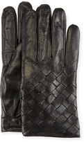 Imoni Leather Basketweave Gloves, Black