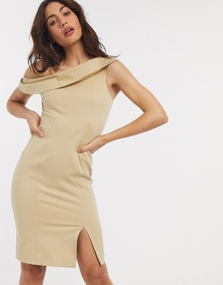 Closet London off shoulder pencil dress with split in taupe