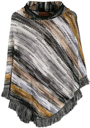 Missoni striped knit poncho
