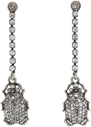 Alexander McQueen Silver Pave Beetle Earrings