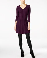 NY Collection Petite Cable-Knit V-Neck Sweater Dress