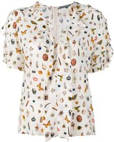 Alexander McQueen Obsession Print Silk Short Sleeve Top