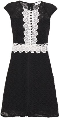 Sandro Two-tone Paneled Lace Mini Dress