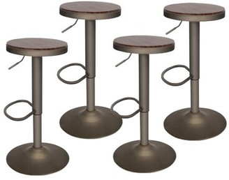 17 Stories Metcalf Swivel Adjustable Height Bar Stool Color: Dark Walnut, Pack Size: 2