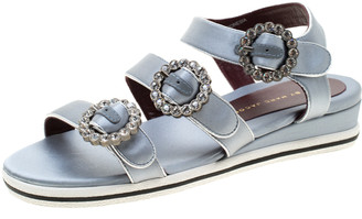 Marc by Marc Jacobs Grey Satin Crystal Embellished Buckle Flat Strappy Sandals Size 36