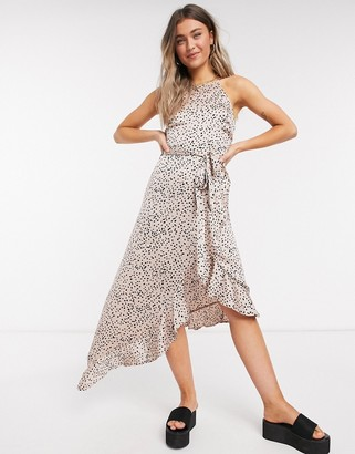 New Look ruffle hem midi dress in pink polka dot