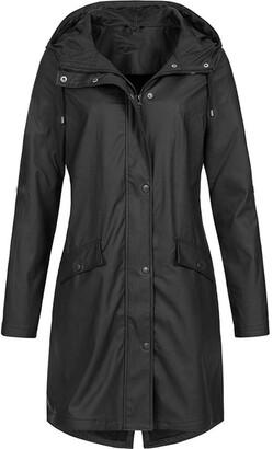 Canifon Women's Outdoor Solid Color Hoodie Rain Jacket Waterproof Windproof Long Overcoat Black