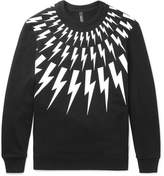 Neil Barrett Printed Loopback Cotton-jersey Sweatshirt - Black