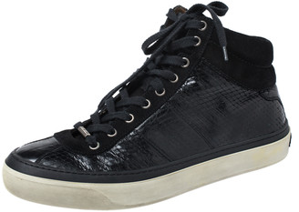 Jimmy Choo Black Suede And Python Embossed Leather High Top Sneakers Size 42