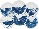Caskata Set of 6 Roosters Dessert Plates - White/Blue