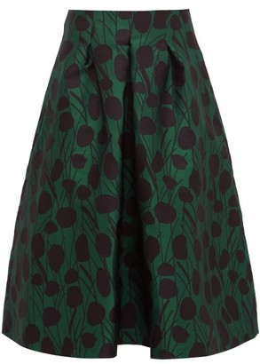 La DoubleJ Macaron Floral Jacquard Satin Pleated Skirt - Womens - Green Print