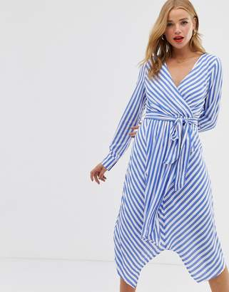 Glamorous wrap front dress with tie waist in diagonal stripe