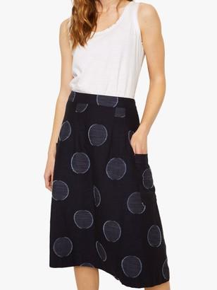 White Stuff Charlie Shibori Spot Print Skirt, Navy
