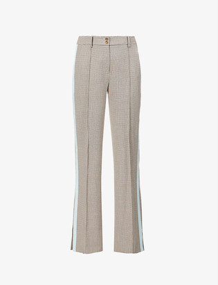 Me And Em Checked straight-leg high-rise woven trousers