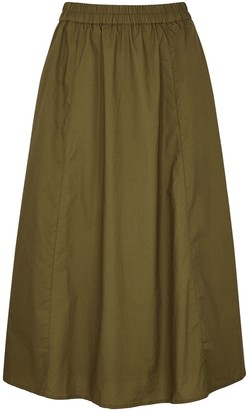 Gestuz Cassia army green cotton midi skirt