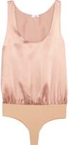Alix - Ella Silk-satin And Stretch-jersey Bodysuit - Blush