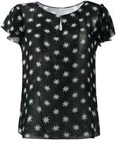 Saint Laurent star print sheer blouse