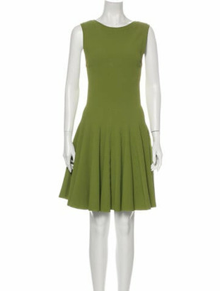 Alaia Crew Neck Knee-Length Dress Green