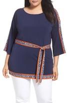 MICHAEL Michael Kors Plus Size Women's Belted Border Print Tunic
