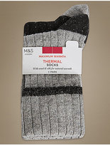 M&S Collection 2 Pair Pack Textured Thermal Ankle High Socks