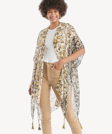 Sole Society Women's Paisley Floral Print Kimono Mustard Multi One Size From