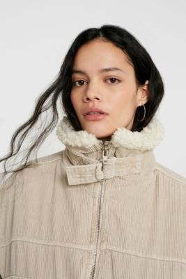 BDG Cord and Borg Utility Beige Coat - beige XS at Urban Outfitters