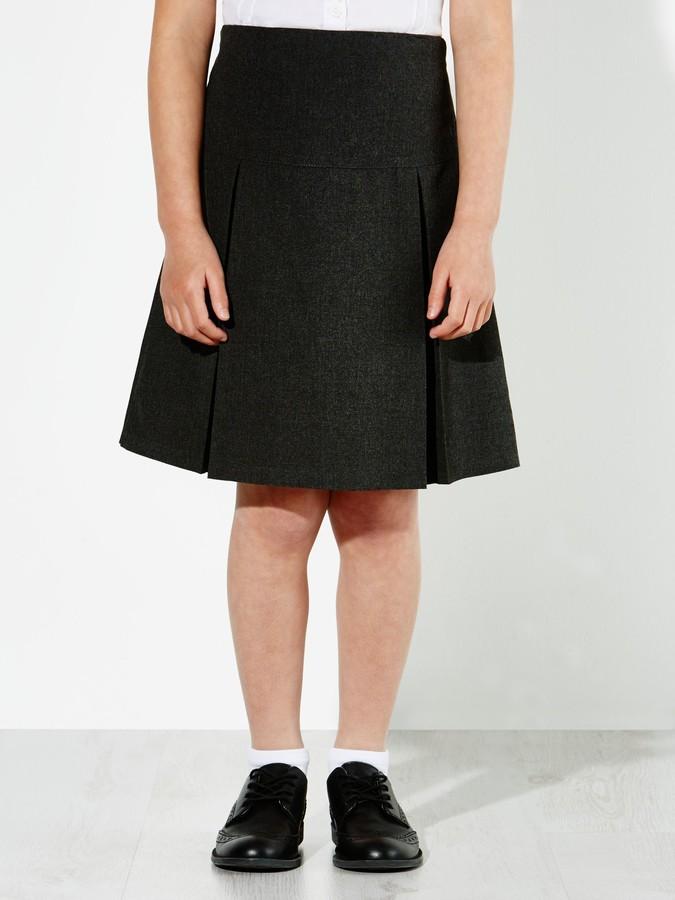John Lewis & Partners The Basics Girls' Pleated Skirt, Pack of 2, Grey