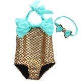 BiggerStore Summer Kids Baby Girls Mermaid One-Piece Swimsuits Bow Squama Bathing suit (, en)
