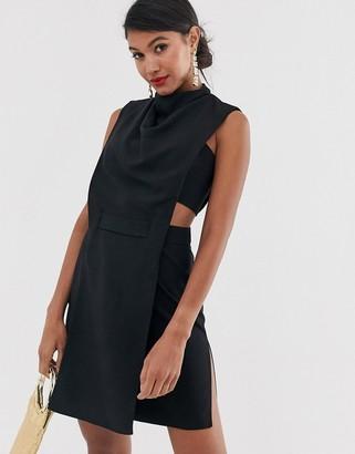 ASOS DESIGN minimal mini dress in crepe with tab detail