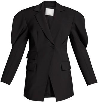 Tibi Tropical Wool Cutout Sleeve Blazer